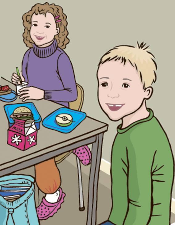 Linus og jente spiser